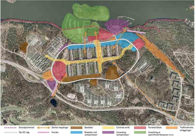 Detaljplan för Fisksätra, lånad bild av Nacka Kommun